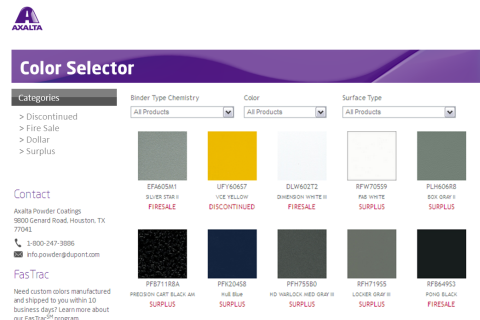 Powder Color Selector Chart