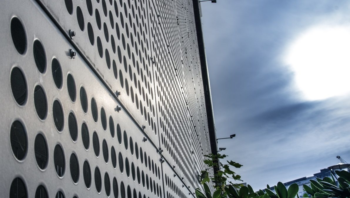 Fisketorvet's perforated steel façade after 16 years of exposure to marine conditions